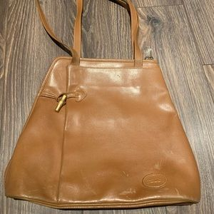 Authentic Longchamp vintage tan leather purse